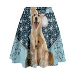 It s Winter And Christmas Time, Cute Kitten And Dogs High Waist Skirt