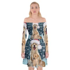 It s Winter And Christmas Time, Cute Kitten And Dogs Off Shoulder Skater Dress by FantasyWorld7