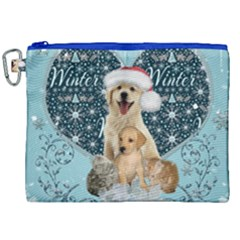 It s Winter And Christmas Time, Cute Kitten And Dogs Canvas Cosmetic Bag (xxl)