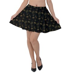 Black And Gold Festive Design Velvet Skater Skirt