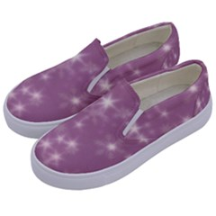 Blurry Stars Lilac Kids  Canvas Slip Ons by MoreColorsinLife
