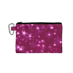 Blurry Stars Pink Canvas Cosmetic Bag (small)