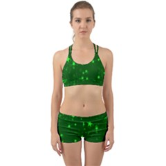 Blurry Stars Green Back Web Sports Bra Set