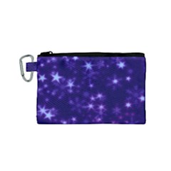 Blurry Stars Blue Canvas Cosmetic Bag (small) by MoreColorsinLife