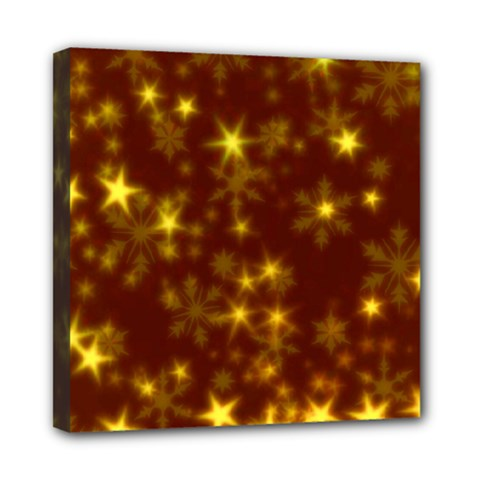 Blurry Stars Golden Mini Canvas 8  X 8  by MoreColorsinLife