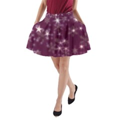 Blurry Stars Plum A-line Pocket Skirt