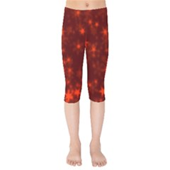 Blurry Stars Red Kids  Capri Leggings  by MoreColorsinLife