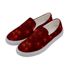 Blurry Stars Red Women s Canvas Slip Ons by MoreColorsinLife