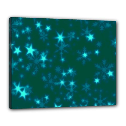 Blurry Stars Teal Canvas 20  X 16  by MoreColorsinLife