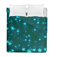 Blurry Stars Teal Duvet Cover Double Side (full/ Double Size) by MoreColorsinLife