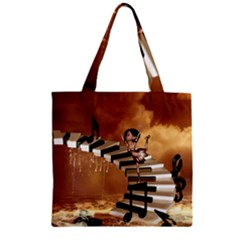 Cute Little Girl Dancing On A Piano Zipper Grocery Tote Bag by FantasyWorld7