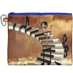 Cute Little Girl Dancing On A Piano Canvas Cosmetic Bag (xxxl) by FantasyWorld7