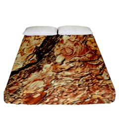 Tree Bark D Fitted Sheet (king Size) by MoreColorsinLife