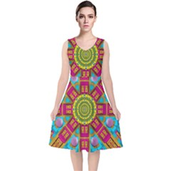 Sunny And Bohemian Sun Shines In Colors V-neck Midi Sleeveless Dress  by pepitasart