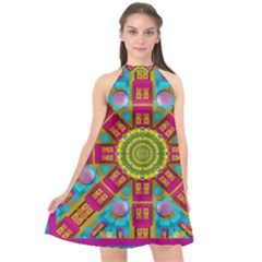 Sunny And Bohemian Sun Shines In Colors Halter Neckline Chiffon Dress  by pepitasart