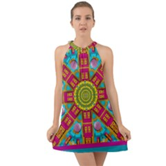 Sunny And Bohemian Sun Shines In Colors Halter Tie Back Chiffon Dress by pepitasart