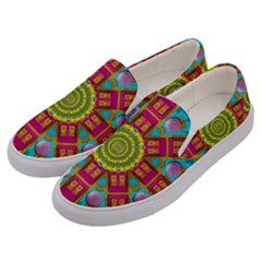 Sunny And Bohemian Sun Shines In Colors Men s Canvas Slip Ons by pepitasart