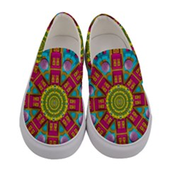 Sunny And Bohemian Sun Shines In Colors Women s Canvas Slip Ons