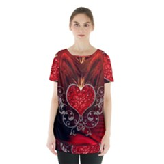 Wonderful Heart With Wings, Decorative Floral Elements Skirt Hem Sports Top by FantasyWorld7