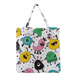 Cute And Fun Monsters Pattern Grocery Tote Bag by allthingseveryday