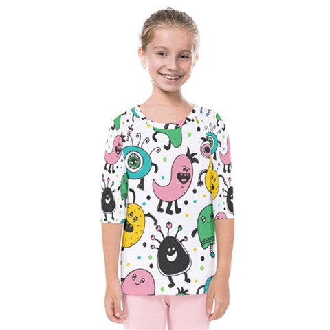 Cute And Fun Monsters Pattern Kids  Quarter Sleeve Raglan Tee by allthingseveryday