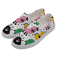 Cute And Fun Monsters Pattern Men s Canvas Slip Ons by allthingseveryday