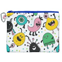 Cute And Fun Monsters Pattern Canvas Cosmetic Bag (xxl) by allthingseveryday
