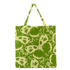 Pale Green Butterflies Pattern Grocery Tote Bag by allthingseveryday