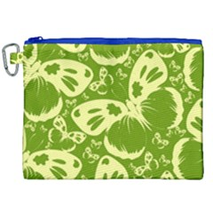 Pale Green Butterflies Pattern Canvas Cosmetic Bag (xxl)