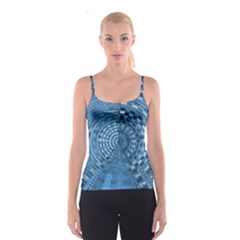 Gateway Pattern Blue 3 Spaghetti Strap Top by Cveti
