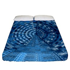 Gateway Pattern Blue 3 Fitted Sheet (queen Size) by Cveti