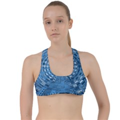 Gateway Pattern Blue 3 Criss Cross Racerback Sports Bra by Cveti