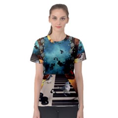 Music, Piano With Birds And Butterflies Women s Sport Mesh Tee by FantasyWorld7