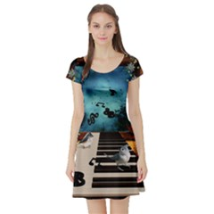 Music, Piano With Birds And Butterflies Short Sleeve Skater Dress by FantasyWorld7