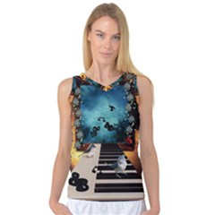 Music, Piano With Birds And Butterflies Women s Basketball Tank Top by FantasyWorld7