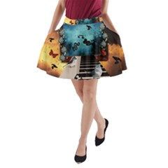 Music, Piano With Birds And Butterflies A-line Pocket Skirt by FantasyWorld7