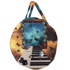 Music, Piano With Birds And Butterflies Giant Round Zipper Tote by FantasyWorld7