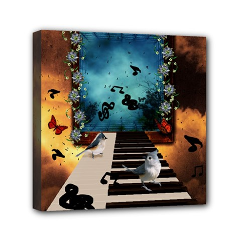 Music, Piano With Birds And Butterflies Mini Canvas 6  X 6  by FantasyWorld7