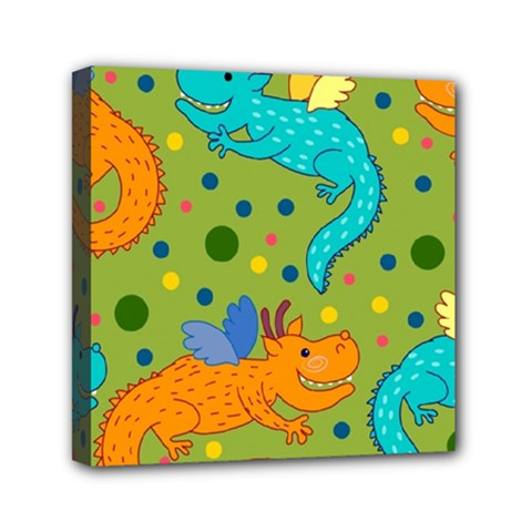 Colorful Dragons Pattern Mini Canvas 6  X 6  by allthingseveryday