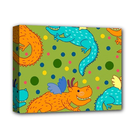 Colorful Dragons Pattern Deluxe Canvas 14  X 11  by allthingseveryday