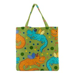 Colorful Dragons Pattern Grocery Tote Bag by allthingseveryday