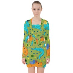 Colorful Dragons Pattern V Neck Bodycon Long Sleeve Dress
