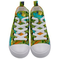 Colorful Dragons Pattern Kid s Mid-top Canvas Sneakers