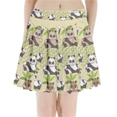 Fun Panda Pattern Pleated Mini Skirt by allthingseveryday