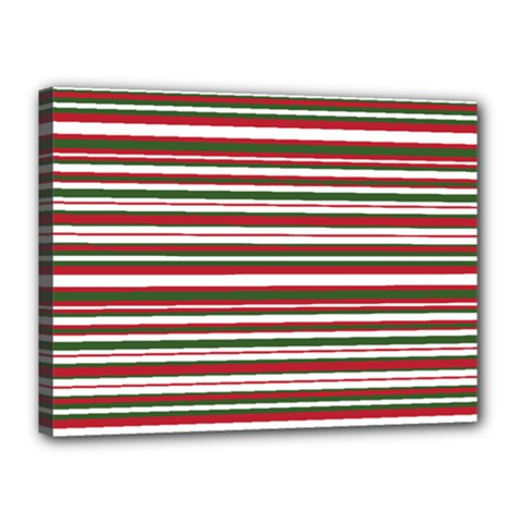 Christmas Stripes Pattern Canvas 16  X 12  by patternstudio