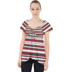 Christmas Stripes Pattern Lace Front Dolly Top by patternstudio