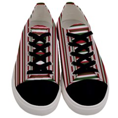 Christmas Stripes Pattern Men s Low Top Canvas Sneakers