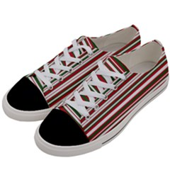 Christmas Stripes Pattern Women s Low Top Canvas Sneakers by patternstudio