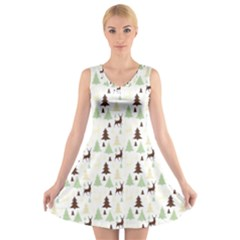 Reindeer Tree Forest V-neck Sleeveless Skater Dress by patternstudio