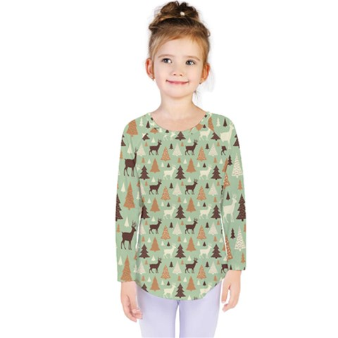 Reindeer Tree Forest Art Kids  Long Sleeve Tee by patternstudio